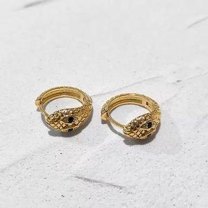 Trendy 18k Gold Snake Hoop Earrings